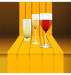 Wine glasses on 3d step vector