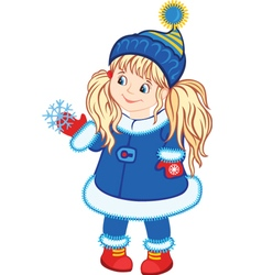 Winter little girl vector
