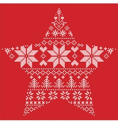 Scandinavian pattern in star shape on red vector