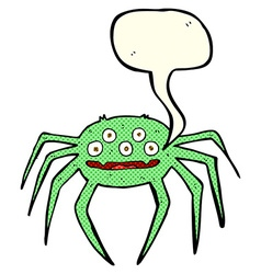 Cartoon halloween spider with speech bubble vector
