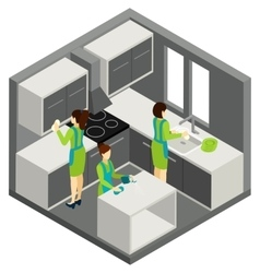 KItchen Cleaning Household Help Isometric vector image