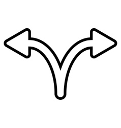 Split arrow left right outline icon vector