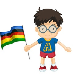 Boy carrying flag for sport event vector
