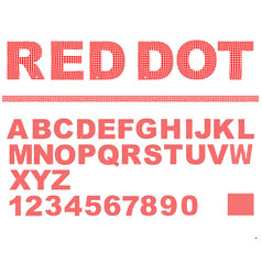Alphabet in red dot texture design uppercase vector