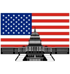 Capitol Building and the US flag vector image