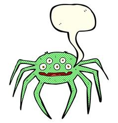 Cartoon halloween spider with speech bubble vector
