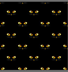 Cat golden eye seamless on black background vector
