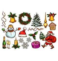 Christmas day new year celebration sketch set vector