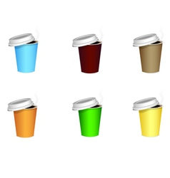 Colored coffee cups vector