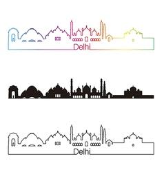 Delhi skyline linear style with rainbow vector