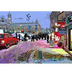 Digital art painting of evening winter city landsc vector