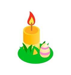 Easter egg with a candle on a green grass icon vector