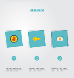 flat icons lock clue forbidden and other vector image vector image