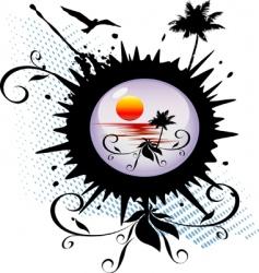 global island vector image