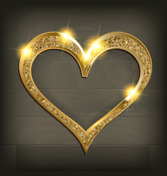 Gold frame heart on wooden background vector