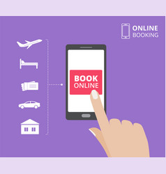 Hand holding smartphone with book button on screen vector