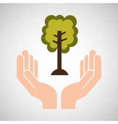 hands care environment ecology vector image