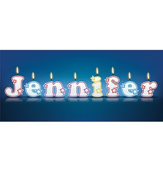 Jennifer written with burning candles vector