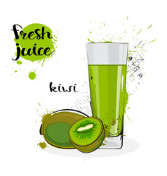 Kiwi juice fresh hand drawn watercolor fruits and vector
