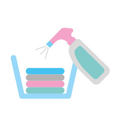 Laundry basket with detergent bottle vector