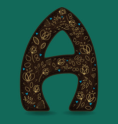 Letter a with golden floral decor vector