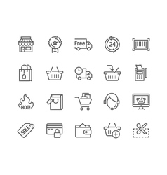 Line Shopping Icons vector image