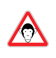 Monkey warning sign red primacy of hazard vector