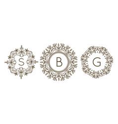 monogram logo and text badge emblem line art vector image vector image