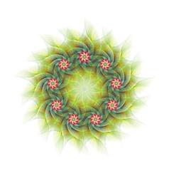 Nine branched circular fractal flower design vector