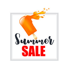 orange splash ice cream bar with text summer sale vector image