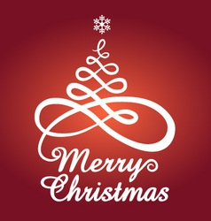 Red Christmas card with tree vector image