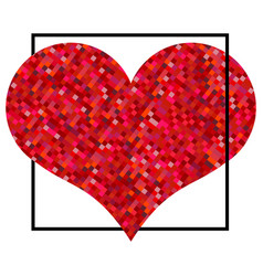 red heart made of pixels in black square vector image
