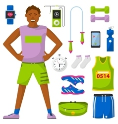 Runner and run equipment set all for running vector