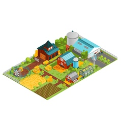 Rural farm isometric composition vector