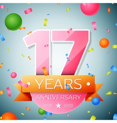 Seventeen years anniversary celebration background vector