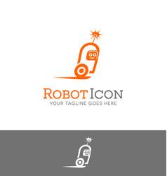 speeding robot character logo vector image vector image
