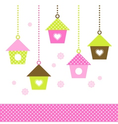 Spring colorful Birdhouses set isolated on white vector image vector image