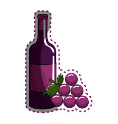 Sticker bottle of wine with bunch of grapes icon vector