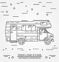 Traveler truck camper thin line camping rv trailer vector