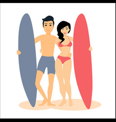Two male and female surfers man vector