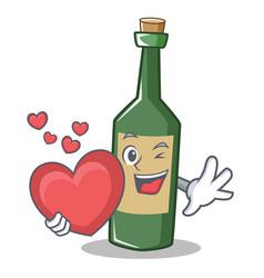 With heart wine bottle character cartoon vector
