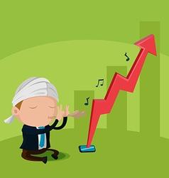Worker flute stock market up vector