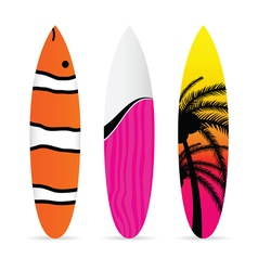 surfboard with various item icon on it set vector image