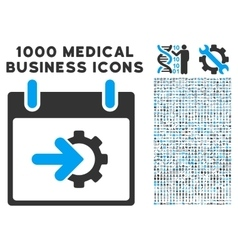 Cog integration calendar day icon with 1000 vector