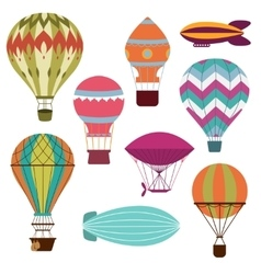 Retro hot air balloons vector