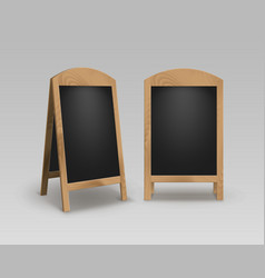 Set of street sandwich stands black menu boards vector