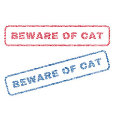 Beware of cat textile stamps vector
