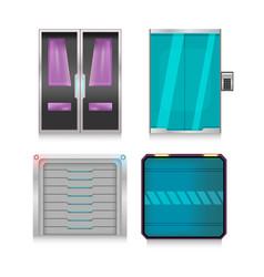 Scifi technology door set vector