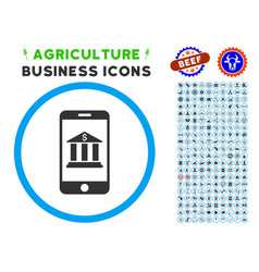 Mobile bank rounded icon with set vector