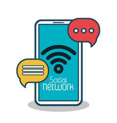 social network concept connection bubble speak vector image